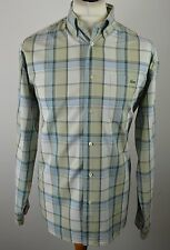 Classic men's Lacoste Sport blue & sage green check long sleeved shirt medium