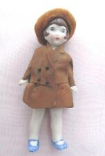 "GERMAN ANTIQUE DOLLHOUSE ALL BISQUE DECO MINIATURE 3.5"" DOLL - ORIGINAL CLOTHES"