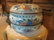 Pre Owned M KAMENSTEIN- POT WITH LID- ENAMELWARE SET. White Metal Floral  4&2qt