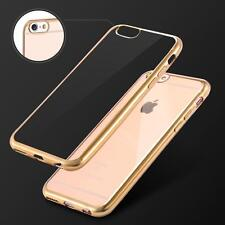 Film Verre Trempé HD + Coque Silicone Transparente Chrome OR Iphone 6 6S 4,7""