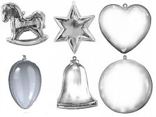 12 Clear Plastic fillable Ornament favors egg horse ball star bell heart 2 each