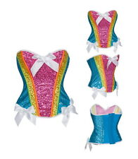 Rainbow Sequin Corset Costume Adult Halloween Fancy Dress Fairy Bustier XL