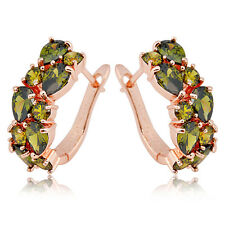 CZ Green Peridot Hoop Cubic Zirconia Drop Earrings Lady's Gift  Rose Gold Filled