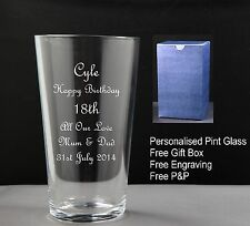 Personalised Pint Glass Birthday Gift 18th,21st 30th 40th 50th 60th 70th 80th