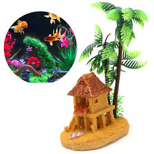 Aquarium Resin Coconut Tree Castle Ornaments Fish Tank Decor Landscape