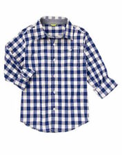 Gymboree Flight School Navy Blue Plaid Checked Dress Shirt Boys S 5-6 NEW NWT
