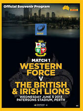 Western Force V British & Irish Lions 5 jun 2013 RUGBY programme MINT