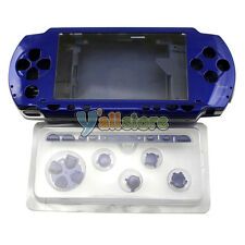 New Full Housing Case Faceplate Front + Back + Button For PSP 1000 1001 Blue