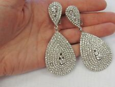 Large Silver Plated Clear Rhinestone Crystal Dangle Bling Clip On Earrings # 20