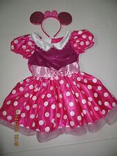 Disney Minnie Mouse Hot Pink Sequin Dress Ears Size 4-6