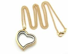 Living Memory Floating Charm Heart Crystal Locket Pendant Necklace Gold GW6