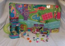 Polly Pocket Ultimate Pool Party + Dolls + Mat + Scooter + Cafe Stand + Dog + Ac