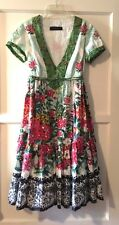 TWIN SET Simona Barbieri Baby Doll Dress Cotton Eyelet Beads Sequins Tiered SM