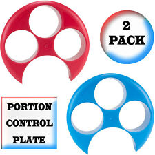 Meal Measure Portion Control Plate (2 Pack) Weight Loss Dieting (1 Red, 1 Blue)