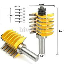 "Adjustable Finger Joint Router Bit Carbide 6 Blade Cutter 1/2"" Shank Woodworking"