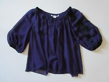 Diane Von Furstenberg DVF Derra in Purple Silk Chiffon Balloon Sleeve Top 4