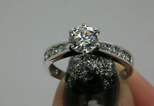 1.5CT  Man Made  Diamond Engagement Solitaire ring 14kt White Gold Free Size