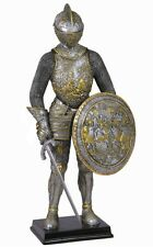 "13"" Medieval Knight Parade Armor w/ Sword & Shield Statue Warrior Sculpture"