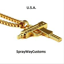 Supreme Uzi Machine Gun Gold Pendant Necklace Chain 18KT Plated Hip Hop Box Logo