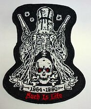 NED KELLY OUTLAW SKULL - SEW ON BIKER MOTORCYCLE PATCH 100mm by 78mm