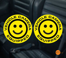 SMILE Dashcam Decal/sticker. Vehicle camera Equipped sticker pair 95mm diameter