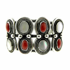 Ornate Navajo Sterling Silver Red Coral Mother of Pearl Cuff