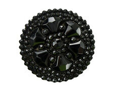 Antique Button Large Black Glass Pear Shapes 6-Point Flower Imitation Beaded