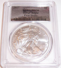 2017 $1 PCGS MS70 First Strike Silver Foil American Silver Eagle!!!