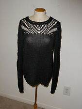 LUCKY BRAND GRAY LONG SLEEVE CROCHET KNIT PULLOVER SWEATER SIZE XL