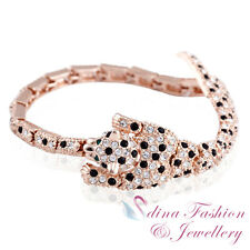 18K Rose Gold Filled Made With Genuine Swarovski Element Luxury Cheetah Bracelet