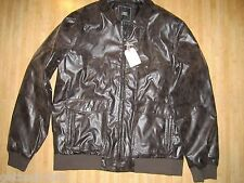 NEW Obey MENS XXL 2XL BOMBER JACKET FAUX LEATHER BROWN DOWNTOWN NWT