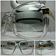 Men or Women OVERSIZE VINTAGE NERD Clear Lens EYE GLASSES Transparent Gold Frame