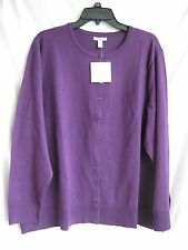 "CARDIGAN SWEATER SIZE 3X [W.54-62""] PURPLE LIGHT WT. BID 80% OFF MSRP $44.00 NEW"