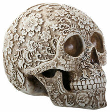 Floral Skull Statue Sculpture Halloween Decor Skeleton Figurine
