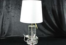 Ralph Lauren Signature Clear Crystal Cylinder Desk Table Lamp White Shade New