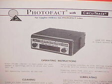 1970 LEAR JET 8-TRACK STEREO TAPE PLAYER/AM-FM RADIO SERVICE MANUAL MODEL A-250