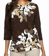 Alfred Dunner shirt size Medium M  Brown w/White and Tan Leaves