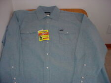 NWT MEN'S MEDIUM WRANGLER DENIM WESTERN LS SHIRT (COWBOY CUT)