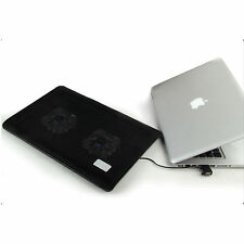 "Slim 2 Fans LED Notebook USB Cooling Pad Cooler Mat For 13.3"" 15.4"" Laptop~Ares"