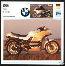 1990 BMW 1000cc K100 RS1 K-100 K1 (987cc) Motorcycle Photo Spec Sheet Info Card