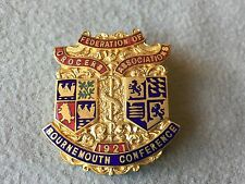 1921 ENAMEL PIN  BADGE BLISS BROS BOURNEMOUTH CONFER FEDERATION OF GROCERS ASSOC