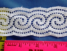 "1-3/4"" White Lace Trim Cotton Crochet Lace Cluny Double Scalloped 5 yds #W44"