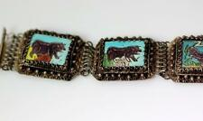 "Vtg Sterling Silver Chinese Export Filigree Enamel Animal Bracelet 7.5"" - 5762"