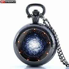 Stargate Design Stainless Steel Necklace Locket Pocket Watch Quartz Men Women UK