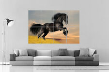 CHEVAL NOIR BLACK HORSE RACE Wall Art Poster Grand format A0 Large Print