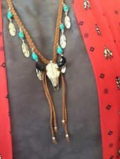 Buffalo Skull Turquoise Feather Boho Gypsy Love Necklace Jewellery Designs