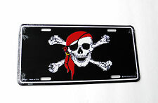 Jolly Roger Skull Cross Bones Pirate Caribbean auto license Plate 12 x 6 inches