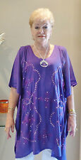 Embroided Sequined Kaftan Top Hand Made Casual or dressy Small size 8-14 New