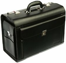 New High Quality Leather Bag Men Women Black Business Pilot Case Carry Bag 6913
