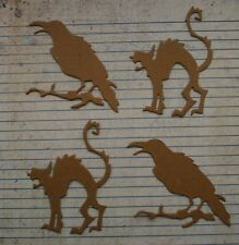 4 Unfinished chipboard Crow and scaredy cat arched back Halloween themed diecuts